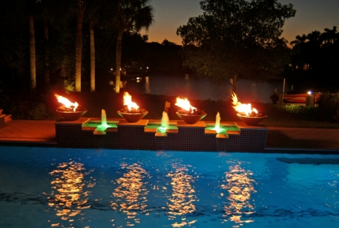 Custom water features for pools fountains scuppers fire features more luxury pools for Fire features for swimming pools