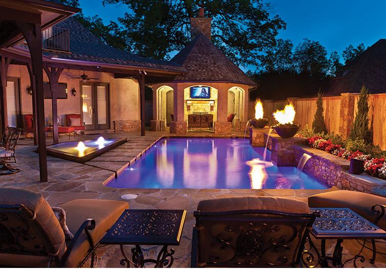 Fire features luxury pools outdoor living for Fire features for swimming pools