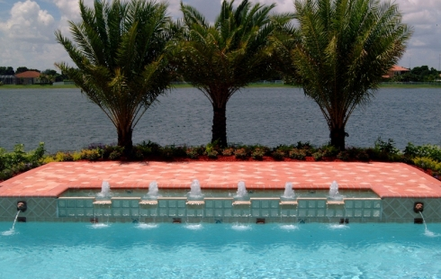 Custom Water Features For Pools Fountains Scuppers Fire Features