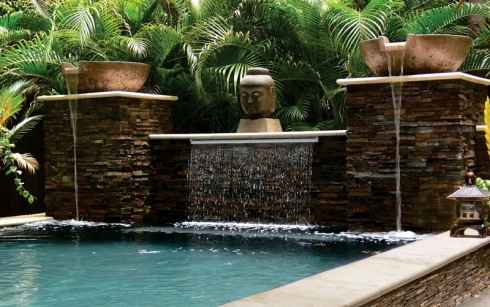 Custom Water Features For Pools Fountains Scuppers Fire More Luxury Outdoor Living