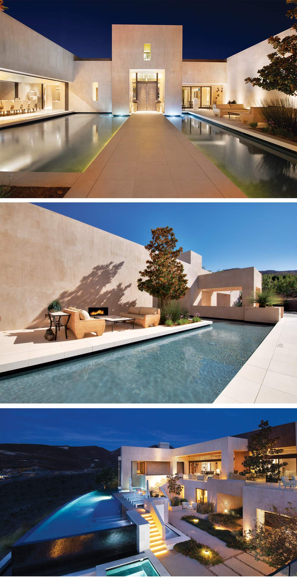 Negative-edge pool and reflecting pond by Poolscapes LLC